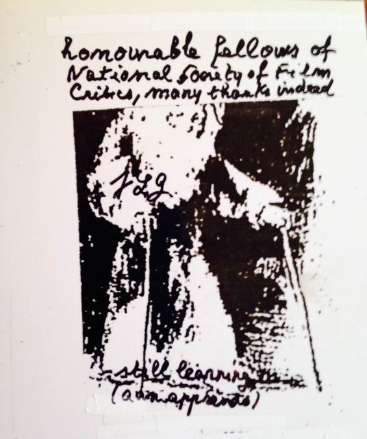Jean-Luc Godard thanks NSFC for Best Film citation.